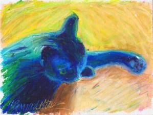 cat sleeping in oil pastel