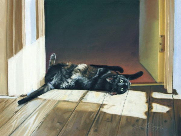 pastel painting of black cat on floor