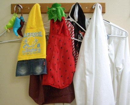 clothing on hooks