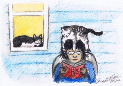 illustration of woman sitting with cat on her head and one in window