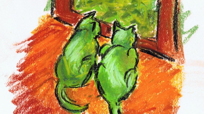 pastel drawing of two cats