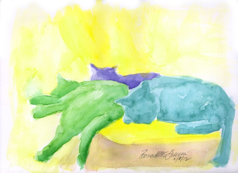 watercolor of three cats