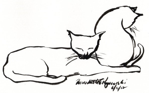 brush sketch of two cats