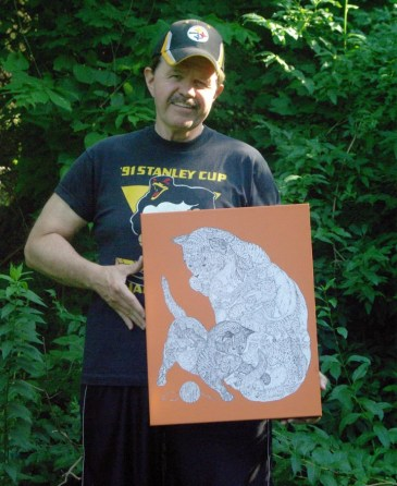 chaz with hidden animal drawing on canvas
