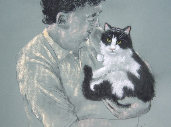 portrait of man holding black and white cat