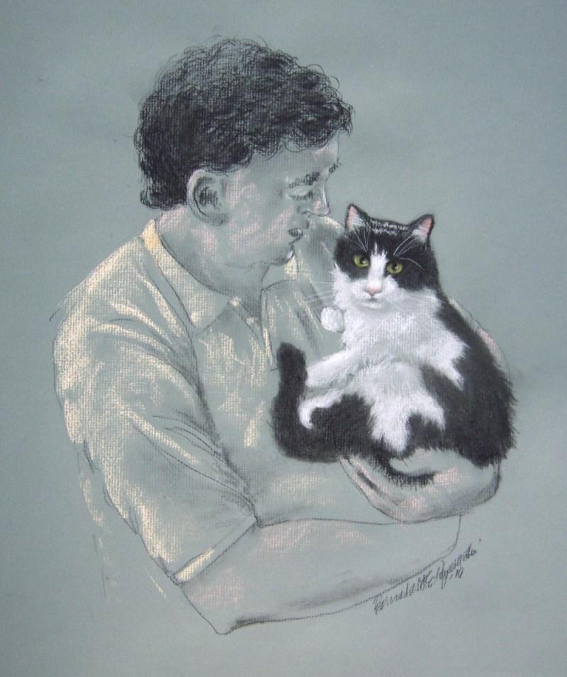 sktch of man holding cat