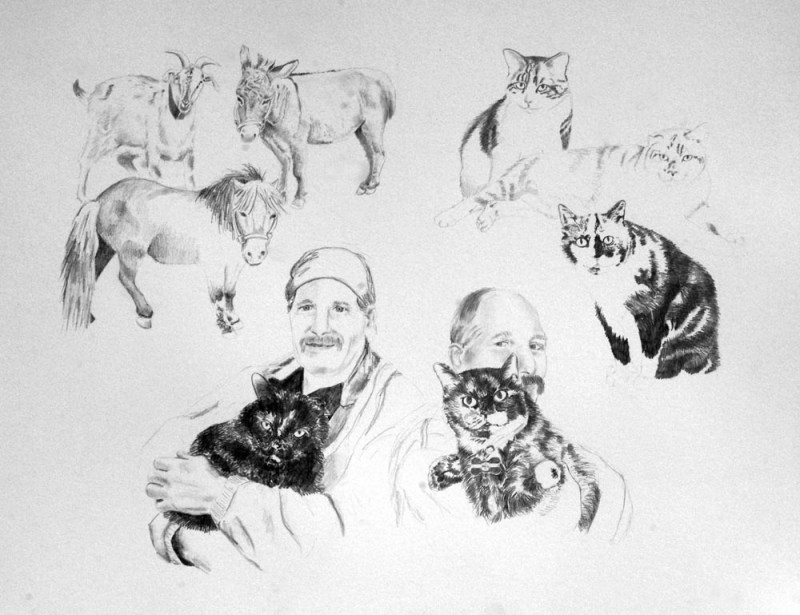 pencil collage of person and animals