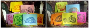 colorful hand-printed notecards