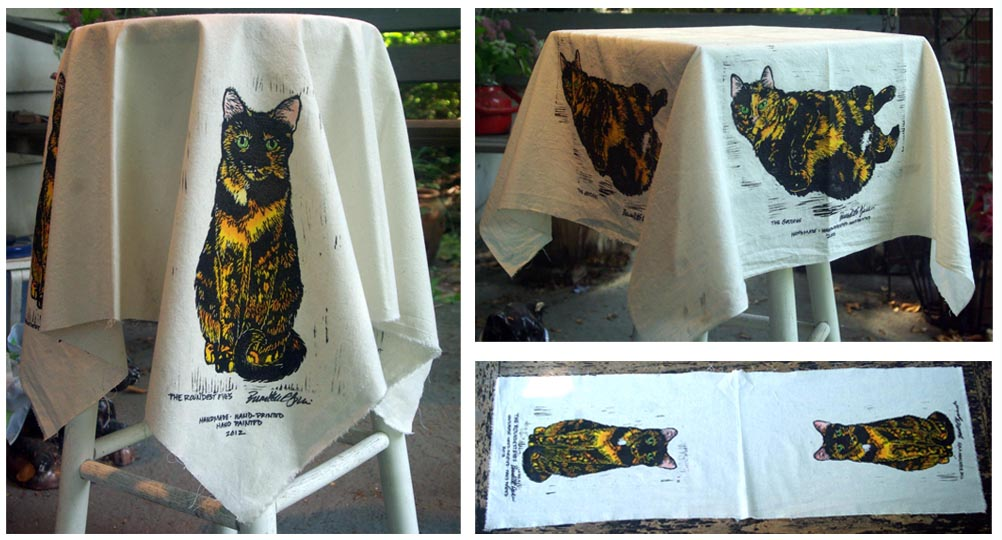 block printed tablecloths with tortoiseshell cats
