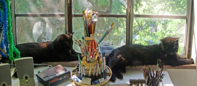 two black cats on windowsill