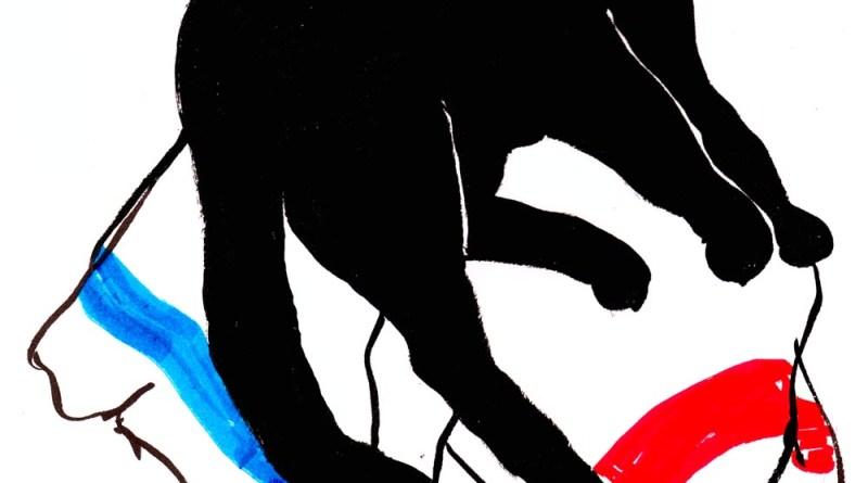 sketch black cat on striped dishtowels