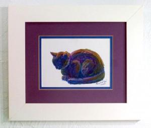 framed oil pastel sketch of cat