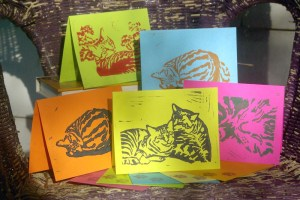 set of hand-printed notecards