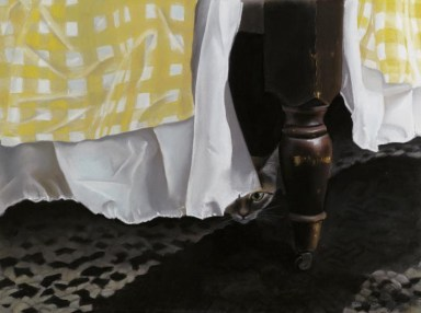 painting of cat under the bed