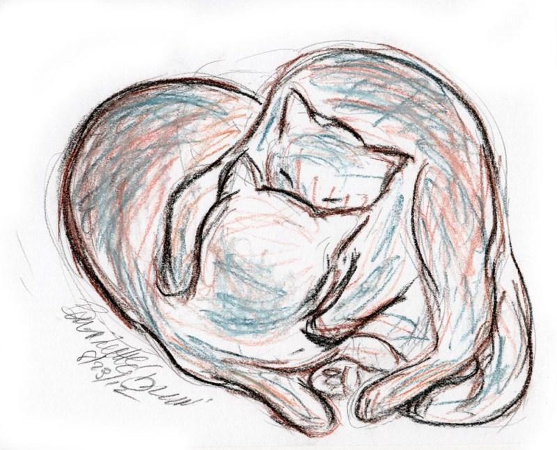 pastel sketch of cats cuddling