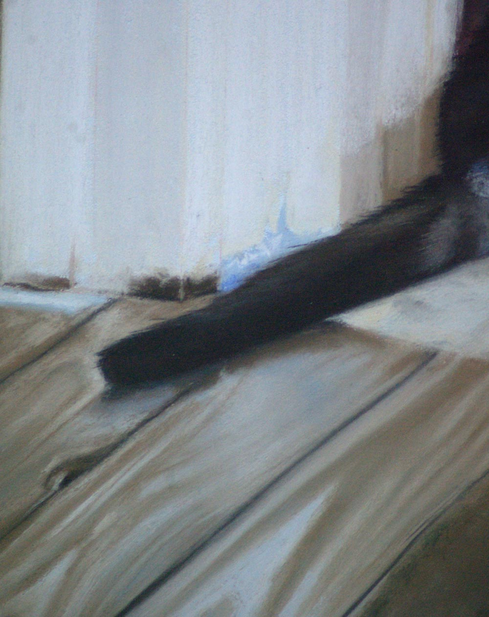 portrait of black cat on floor detail