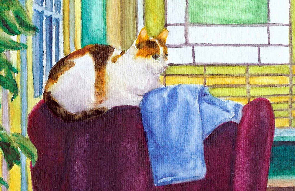 detail of watercolor painting of cat
