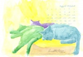 desktop calendar watercolor of three cats