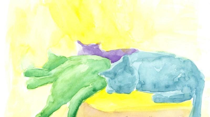 """Lazy Saturday Afternoon"", watercolor, 9"" x 12"" © BernadetteE. Kazmarski"