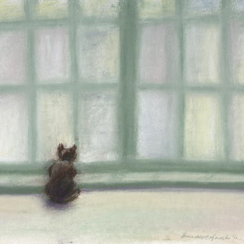pastel painting of cat looking out window. new animal sympathy card