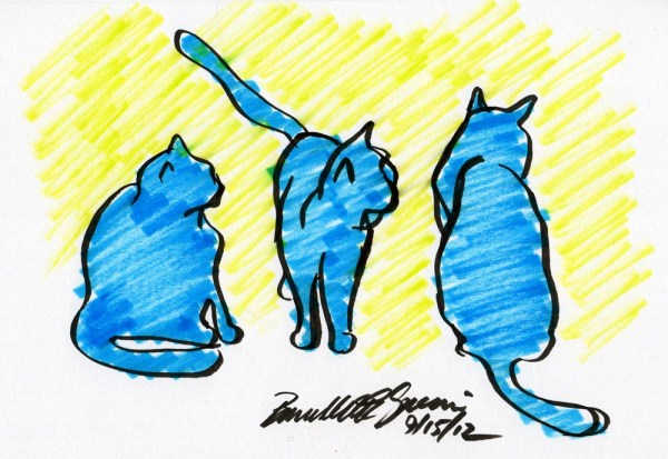 marker sketch of three cats in blue with yellow backgroudn