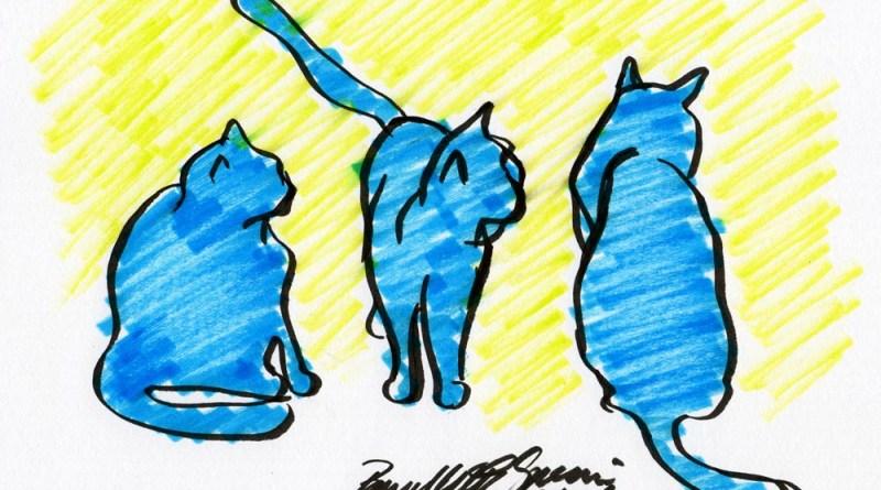 """""""Three Blue Cats"""", brush marker, 9"""" x 6.5"""" © Bernadette E. Kazmarski"""
