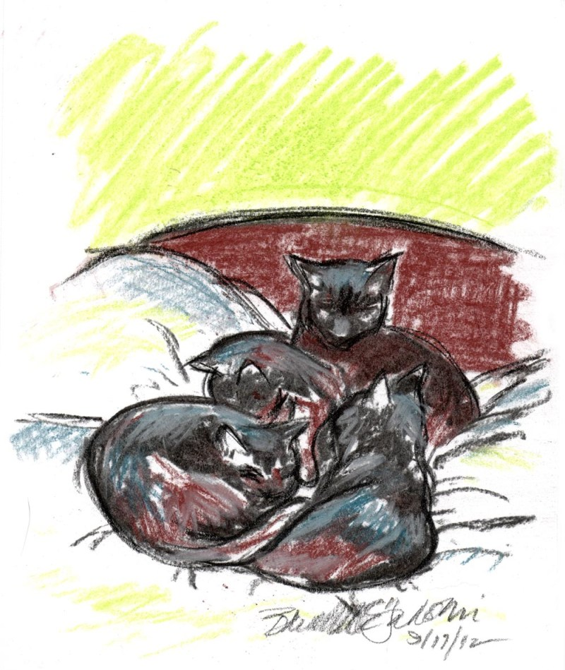 pastel sketch of four black cats on bed