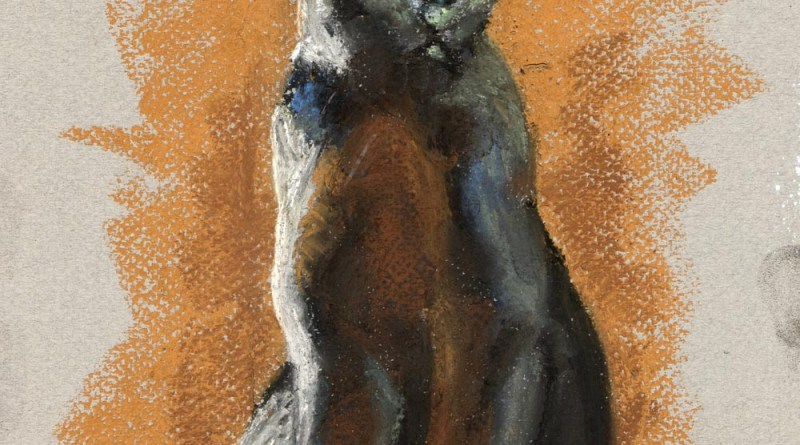 pastel sketch of black cat