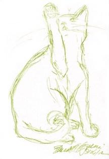 sketch of cat swatting at bug