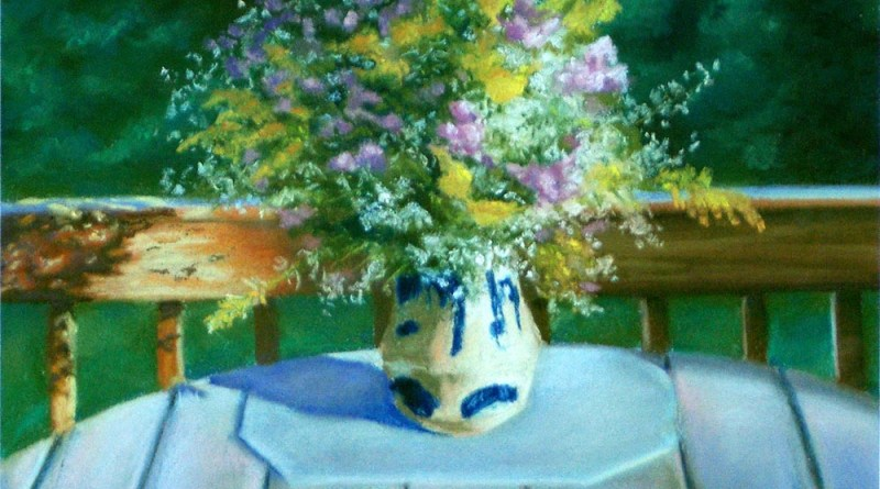 pastel painting of vase of autum wildflowers