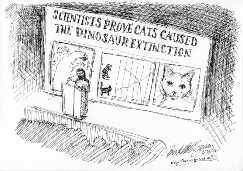 cartoon showing cats caused dinosaur extinction