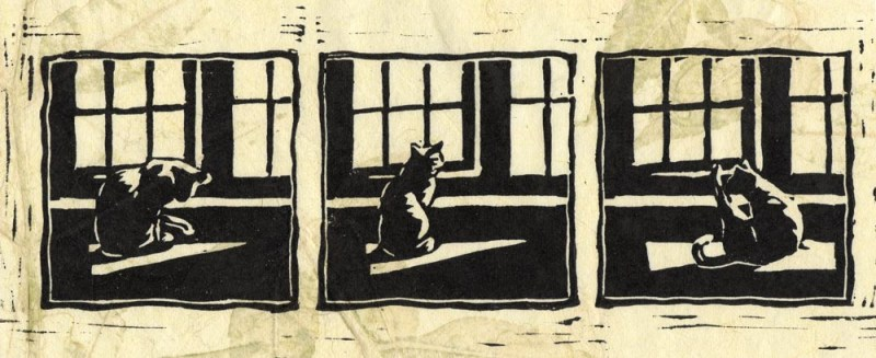linoleum block print of cat