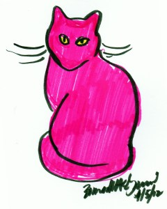 marker sketch of kitty in pink