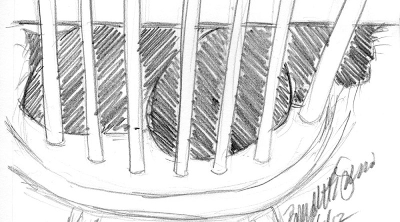 pencil sketch of two cats on chair under table