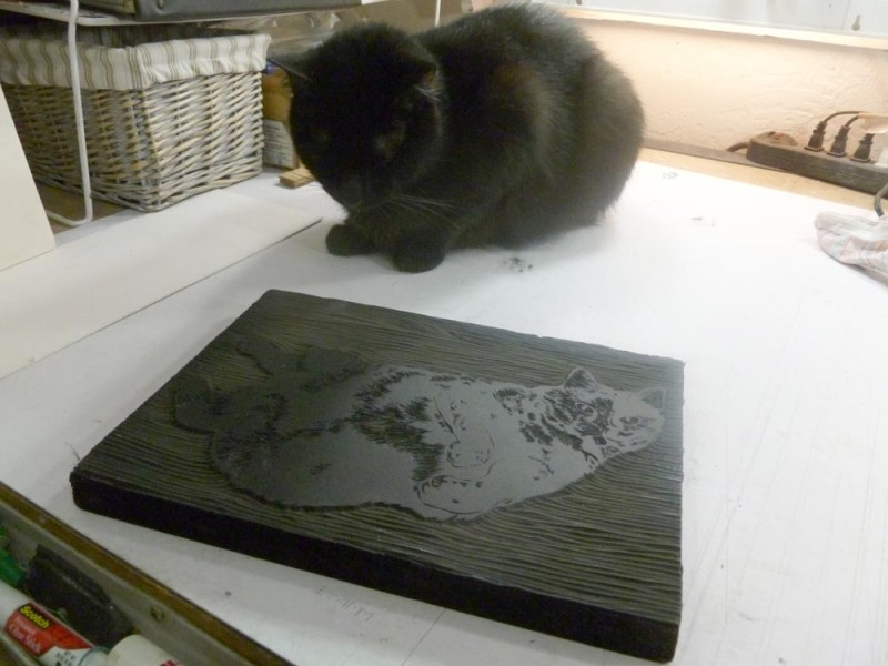 black cat looking at linoleum block