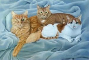 pastel portrait of three orange cats