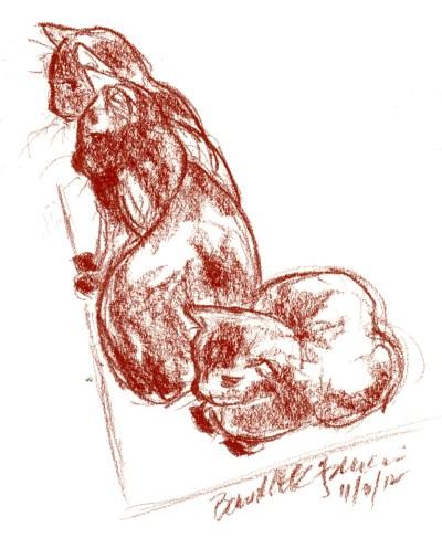 conte sketch of three black cats