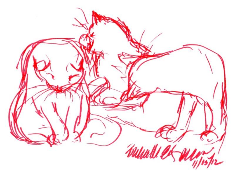 marker sketch of cat bathing