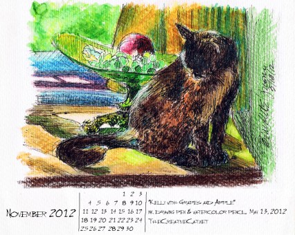 ink watercolor sketch of tortoiseshell cat download wallpaper calendar