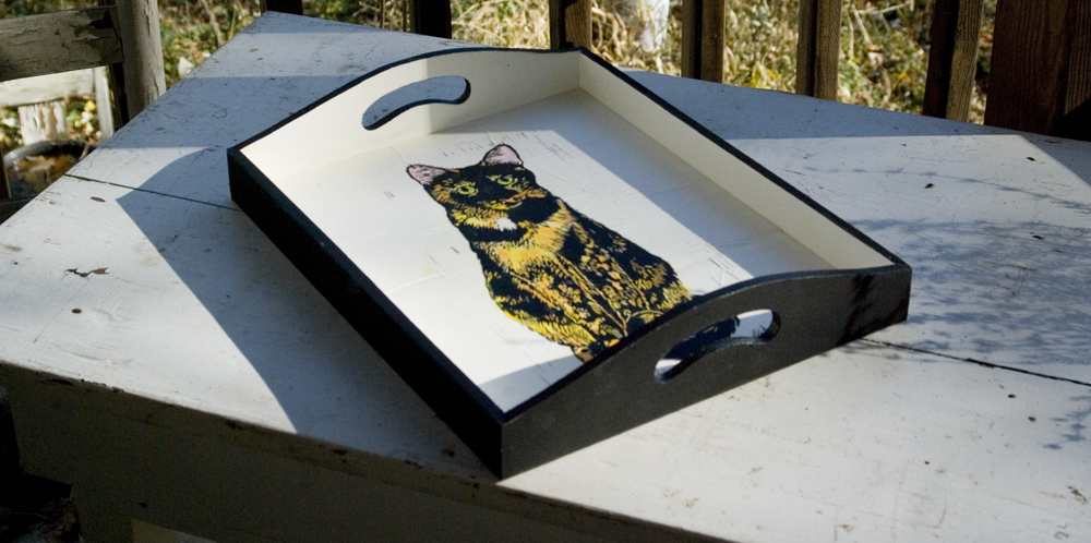 """hand-painted and printed wooden tray """"The Roundest Eyes"""""""
