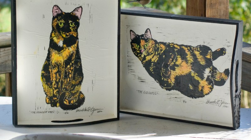 wooden trays with tortoiseshell cats