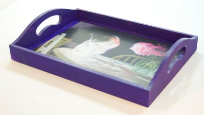 decorative tray with cat art