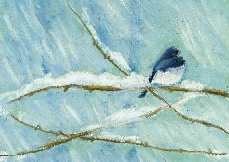 """Snow Bird"", pastel, 6"" x 8"""