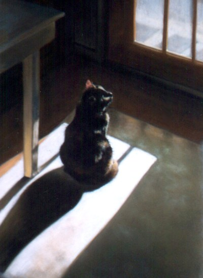 painting of cat looking out door