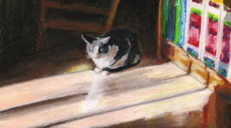 oil pastel painting of cat in sun