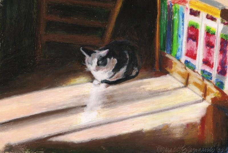 oil pastel painting of cat in sun