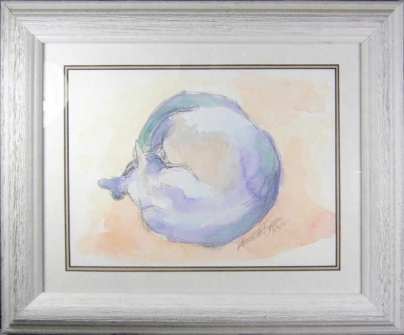 framed watercolor of cat