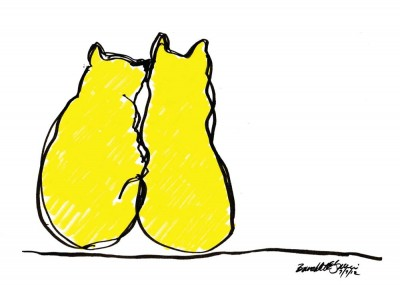 card design of two cats in yellow outlined in black