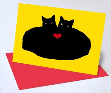 valentine greeting card with cats