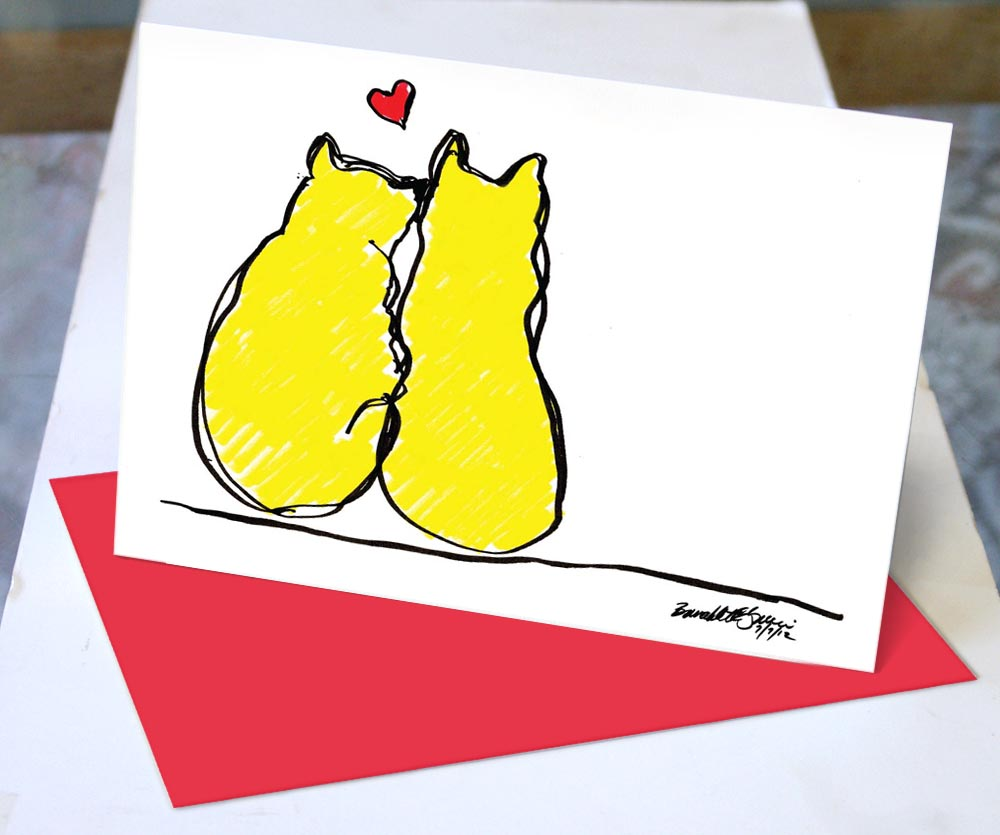 valentine card with two yellow cats and heart